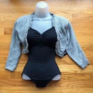 Bloch Grey Dance Shrug Cropped Cardigan Sweater